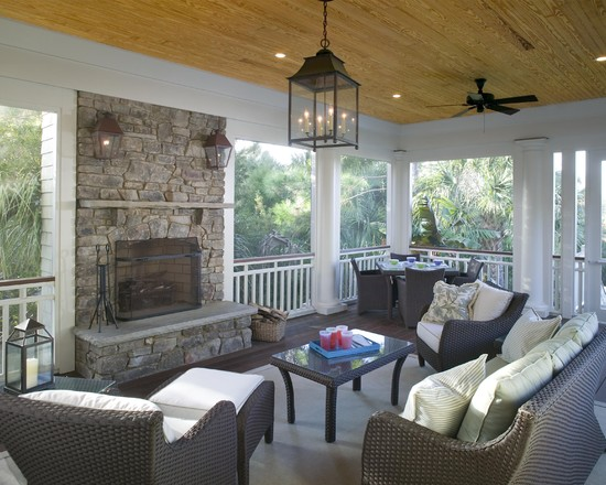 Screened Porch Features Outdoor Fireplace